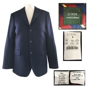 J. CREW Navy Blue 100% Cashmere 3 Button Jacket